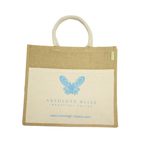 Τσάντα οικολογική από λινάτσα με υφασμάτινη εξωτερική τσέπη για το Absolute Bliss. Xerikos Advertising Gifts