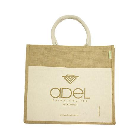 Τσάντα οικολογική από λινάτσα με υφασμάτινη εξωτερική τσέπη για το adel. Xerikos Advertisign Gifts