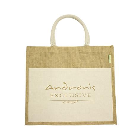 Τσάντα οικολογική από λινάτσα με υφασμάτινη εξωτερική τσέπη. Xerikos Advertisign Gifts