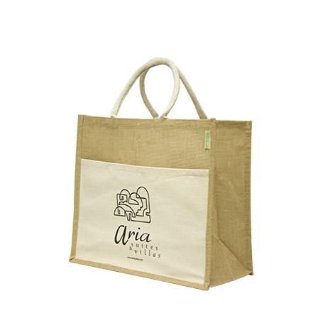 Τσάντα οικολογική από λινάτσα με υφασμάτινη εξωτερική τσέπη για το Aria. Xerikos Advertisign Gifts