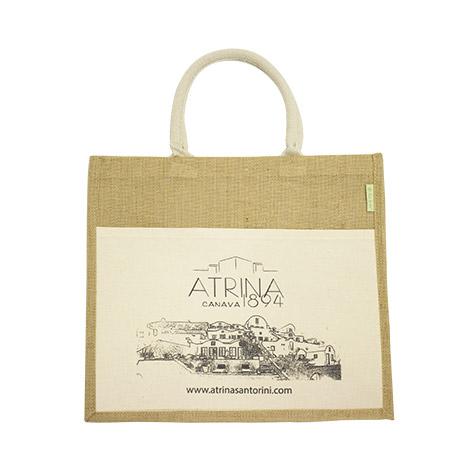 Τσάντα οικολογική από λινάτσα με υφασμάτινη εξωτερική τσέπη για το Artina. Xerikos Advertisign Gifts