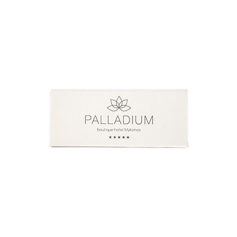 """KX5520: Σπίρτα διάστασης 55x23x7 mm. Εκτύπωση για το """"Palladium boutique hotel Mykonos"""""""