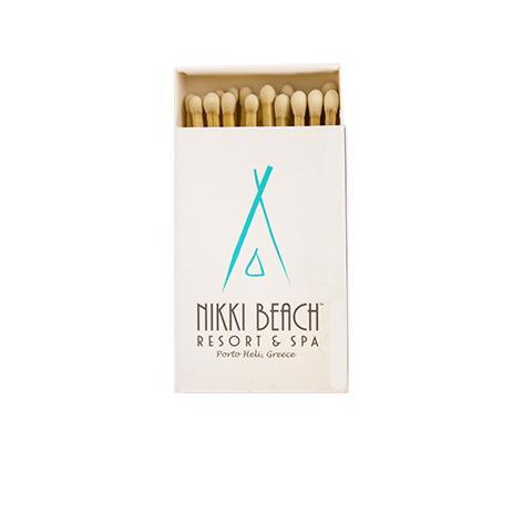 """KX5521: Σπίρτα διάστασης 54x35x8 mm. Εκτύπωση για το """"Nikki Beach Resort & Spa"""""""