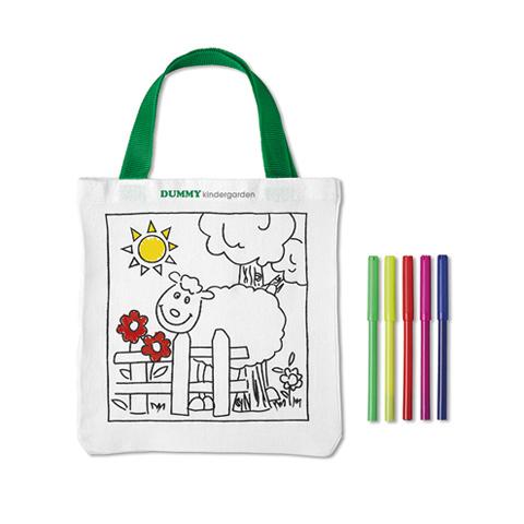 Λευκή τσάντα με παιδικό σχέδιο με προβατάκι και εκτύπωση διαφημιστικού λογοτύπου στην μπροστινή όψη