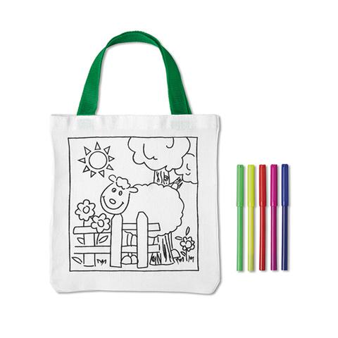 Λευκή τσάντα με πράσινη χειρολαβή και παιδικό σχέδιο για ζωγραφική