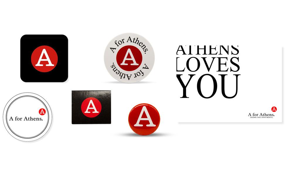 Διαφημιστικά σουβέρ, σουπλά, σπίρτα και κονκάρδες για το A for Athens. Από την Xerikos Advertising Gifts