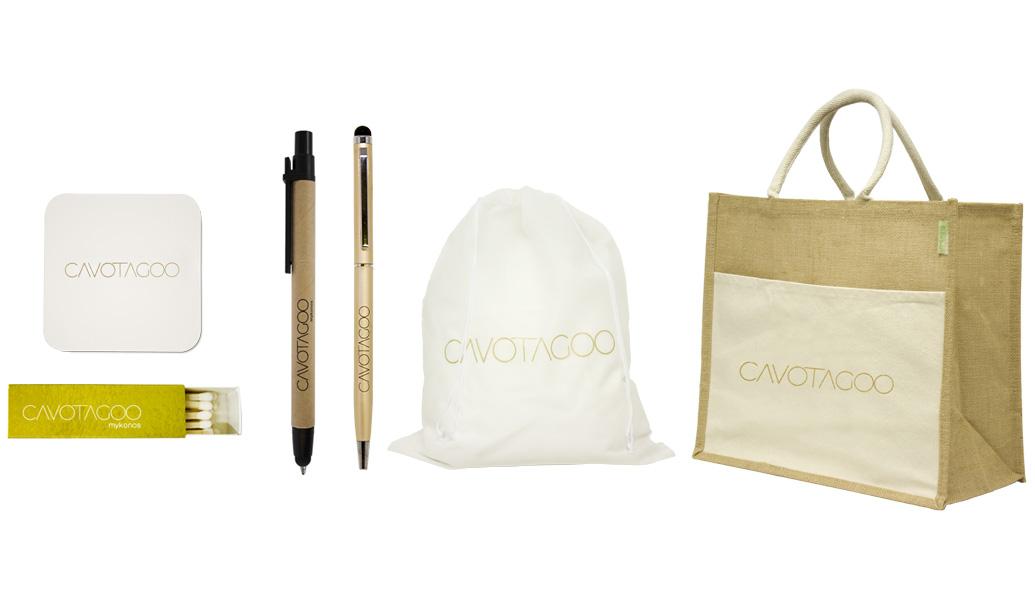 Οικολογική τσάντα, laundry bag, στυλό και σπίρτα για το Cavotagoo.Σύγχρονες και έξυπνες λύσεις διαφημιστικών και εταιρικών δώρων για ξενοδοχειακές επιχειρήσεις από την Xerikos Advertisign Gifts.