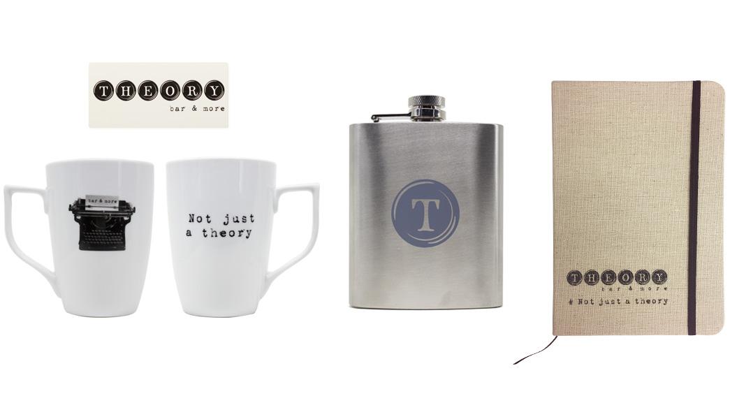 Κούπα, φλασκί, σπίρτα και σημειωματάριο για το Theory Bar. Σύγχρονες και έξυπνες λύσεις διαφημιστικών και εταιρικών δώρων για επιχειρήσεις εστίασης από την Xerikos Advertisign Gifts.