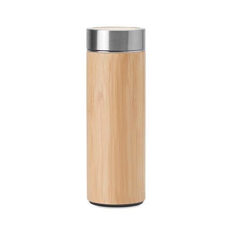 Image of travel mug with a bamboo touch.